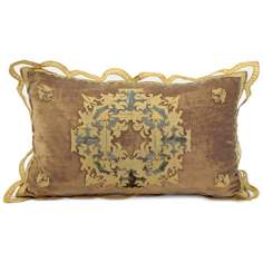 John Richard Antique Gold Velvet Lumbar Accent Pillow
