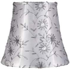 Jasper Gray Floral Bell Lamp Shade 3.5x5.5x5 (Clip-On)