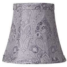 Gray Paisley Bell Lamp Shade 3x6x5 (Clip-On)