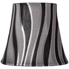 Gray Curved Stripes Lamp Shade 3.5x5.5x5 (Clip-on)