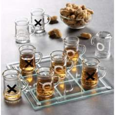 Shot Glass Tic-Tac-Toe Drinking Game Set with Mini Beer Mugs
