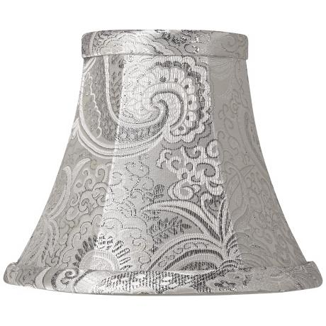 Silver Paisley Metallic Bell Lamp Shade 3x6x5 (Clip-On)