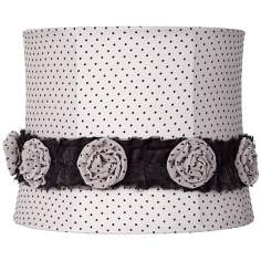 Polka Dot Flower Trim Beige Drum Shade 11x12x9.5 (Spider)