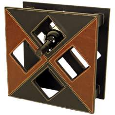 Black and Brown Square Faux Leather Wine Holder