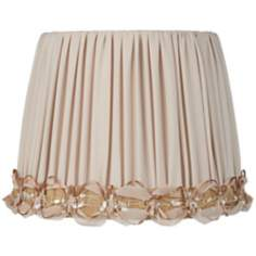 Beige with Ribbon Shirred Drum Lamp Shade 9x12x9 (Spider)