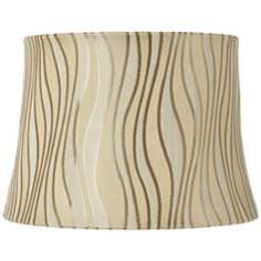 Beige and Silver Curved Lines Lamp Shade 10x12x8.5 (Spider)