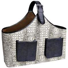 White and Black Faux Crocodile Leather Magazine Basket