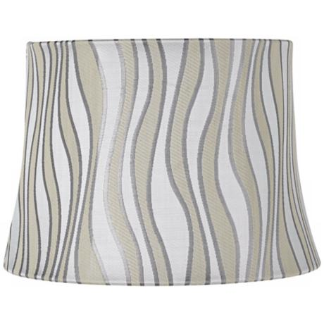 Grey Curved Stripes Drum Lamp Shade 10x12x8.5 (Spider)