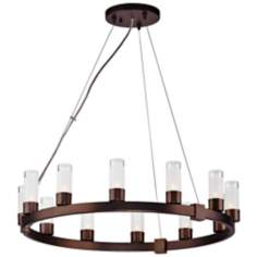 Forecast Revolution Merlot Bronze Round 12-Light Chandelier