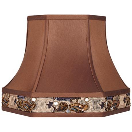 Bronze Faux Silk Hexagonal Lamp Shade 9x15x11.5 (Spider)