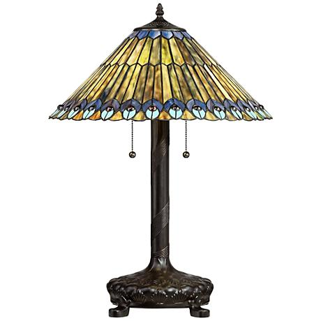 Peacock Motif Robert Louis Tiffany-Style Table Lamp