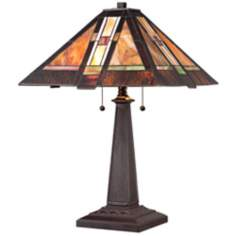 Bronze Tapered Column Robert Louis Tiffany Lamp