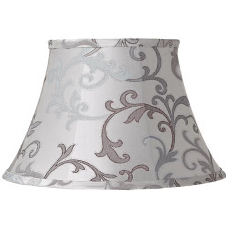 Cream and Gray Floral Scroll Lamp Shade 10x17x11 (Spider)