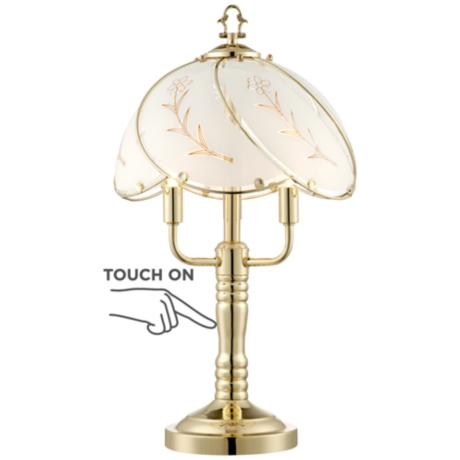 "Etched Flower Petal Shade 19.5"" H 3-Light Touch Table Lamp"
