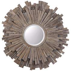 "Uttermost Vermundo Circular 43"" Wide Wood Wall Mirror"