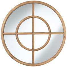 "Uttermost Eliseo Light Walnut Wood 37"" Round Wall Mirror"