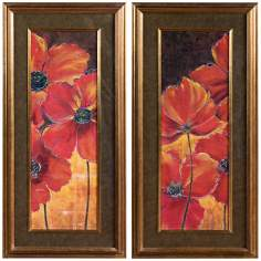 "Uttermost Set of 2 Midnight Poppy I and II 45"" High Wall Art"