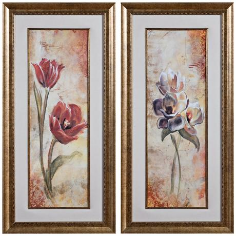 "Uttermost Set of 2 Floral Times 46 1/4"" High Wall Art"