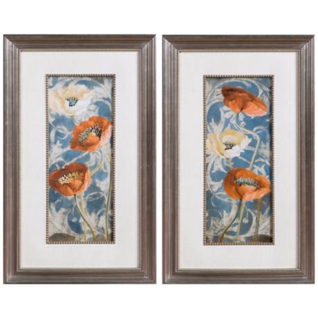 "Uttermost Set of 2 Poppies de Bleu 29 1/2"" High Wall Art"