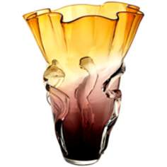 Large Purple/Amber Ruffled Glass Vase