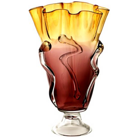 Large Purple/Amber Ruffled Glass Pedestal Vase