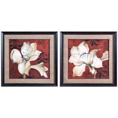 "Uttermost Set of 2 Amaryllis on Red 33 1/2"" Wide Wall Art"