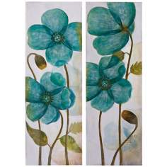 Uttermost Set of 2 Aqua Shock II, III Floral Wall Art