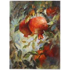 "Uttermost 38"" High Pomegranate Bloom Hand-Painted Wall Art"