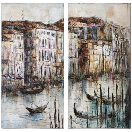 Uttermost Set of 2 Canal View I, II Hand-Painted Wall Art