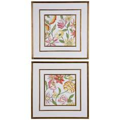 Uttermost Set of 2 Garden Bouquet I,II Floral Wall Art