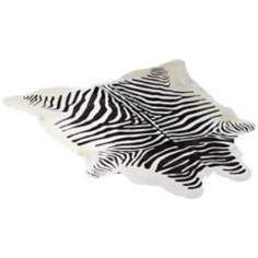 Zebra Print Cow Hide Decorative Area Rug