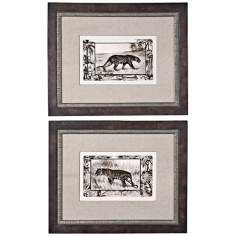 "Uttermost Set of 2 Big Cats 24 1/4"" Wide Framed Wall Art"