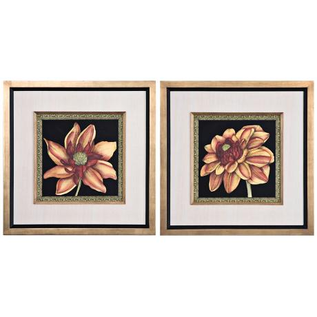 Uttermost S/2 Patterned Flowers I, IV Framed Floral Wall Art