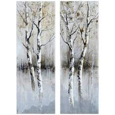 Uttermost Set of 2 Birch I, II Hand-Painted Tree Wall Art