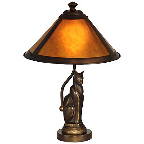 Bronze Cat and Ginger Mica Dale Tiffany Accent Lamp