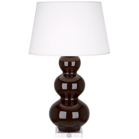 Robert Abbey Chocolate Triple Gourd Ceramic Buffet Lamp