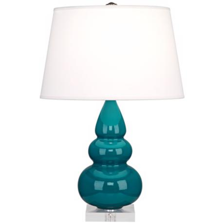 Robert Abbey Peacock Triple Gourd Ceramic Table Lamp