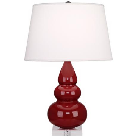 Robert Abbey Oxblood Red Triple Gourd Ceramic Table Lamp