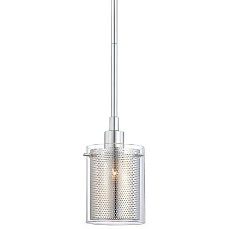 "George Kovacs Grid II 6"" High Chrome Mini Pendant"