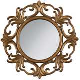 "Dark Antique Gold Openwork 29"" Wide Round Wall Mirror"