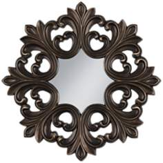 "Dark Bronze Openwork 35 1/2"" Wide Round Wall Mirror"