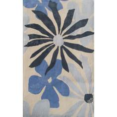 Ecconox Collection Mustard Seed Blue Area Rug