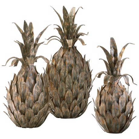Set of 3 Multi-Tone Iron Pineapples