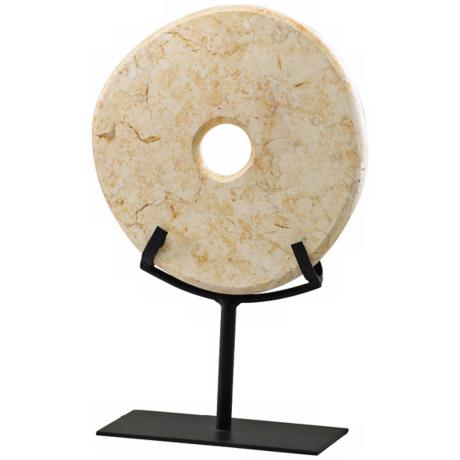 Small Yellow Granite Disk on Iron Stand