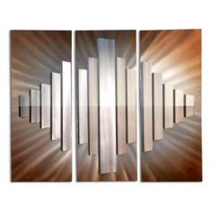 "Set of 3 Nova Sunburst City 50"" Wide Metal Wall Art"