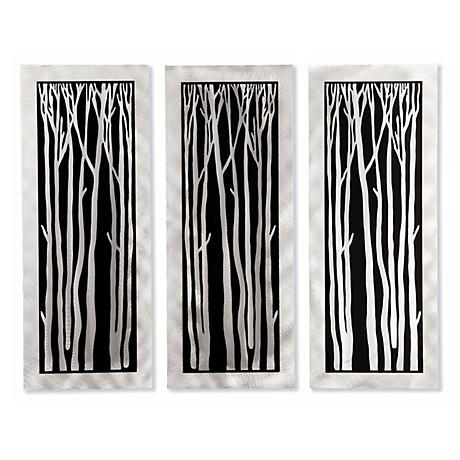 "Set of 3 Nova Silver Birch 50"" Wide Metal Wall Art"