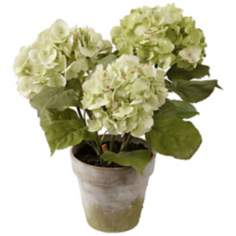 "Jane Seymour 19"" Three Hydrangeas in Clay Pot"