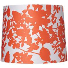"Orange Floral Silhouette Drum Shade 12x13.5x9"" (Spider)"