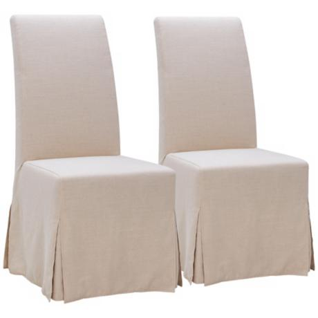 Set of 2 Victoria Oatmeal Fabric Dining Chairs