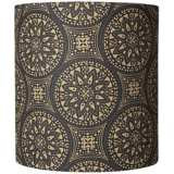 Black Medallions on Tan Fabric Shade 11.5x11.5x12.5 (Spider)
